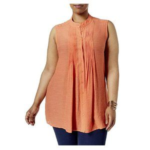 Alfani Plus Size Pintucked Tunic in Brushed Coral